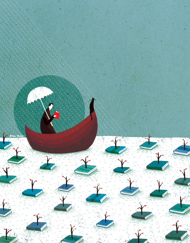 """Navegando entre libros"", ilustración de Roger Ycaza (Ecuador)."