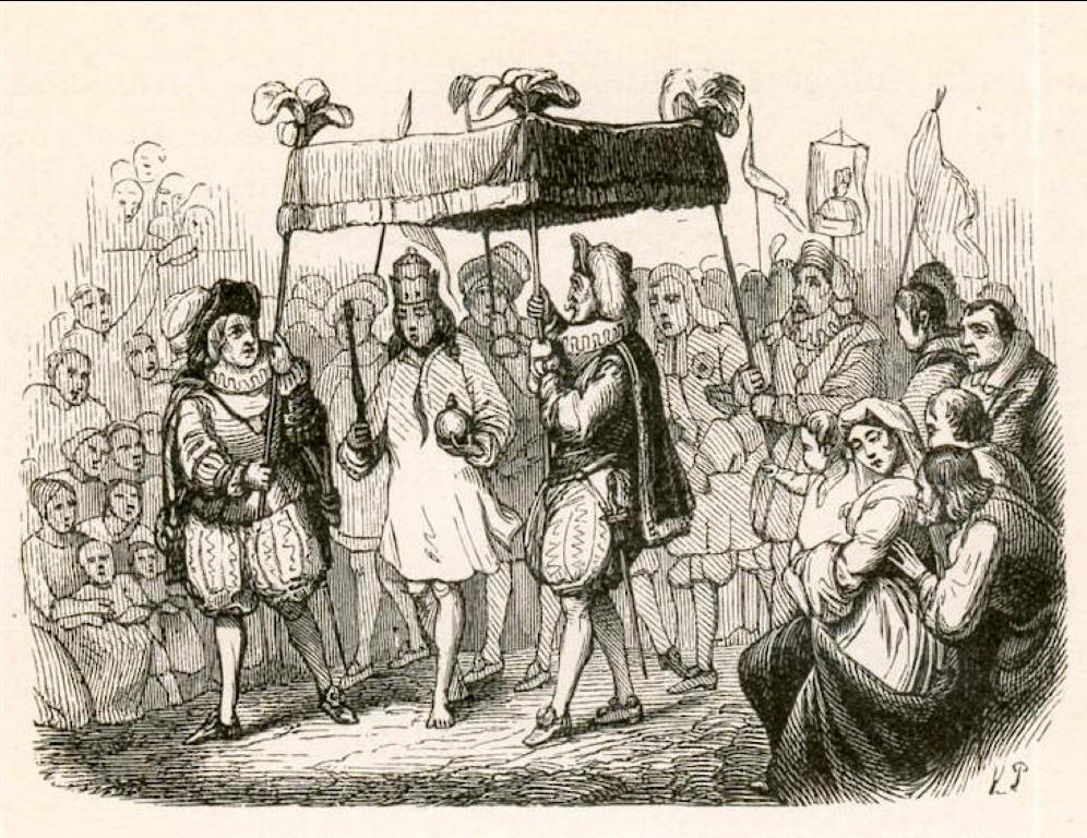 """Ilustración de Vilhelm Pedersen para la primera publicación de """"El traje nuevo del emperador"""", de Hans Christian Andersen, en 1837."""