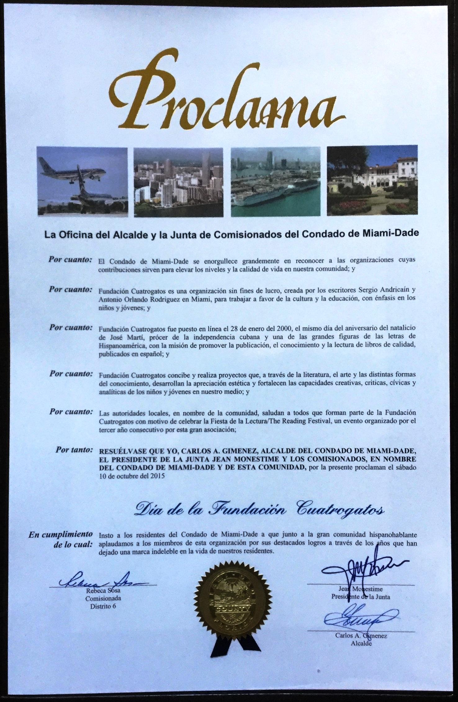 Proclama oentregada por el Condado Miami-Dade a la Fundación Cuatrogatos.