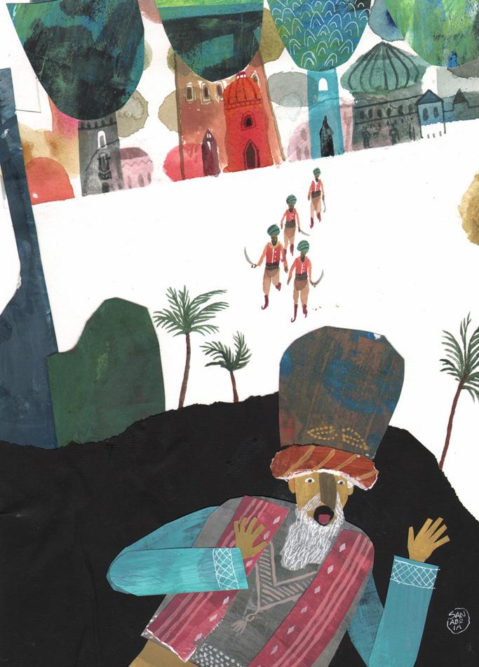 """Ilustración de José Sanabria paera """"Huellas en la arena""""."""