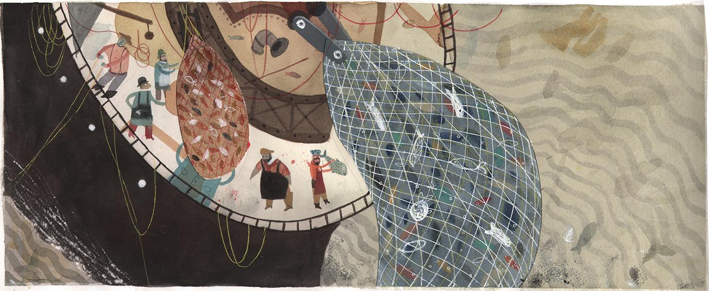 """Ilustración de José Sanabria para """"Con el paso del tiempo"""""""