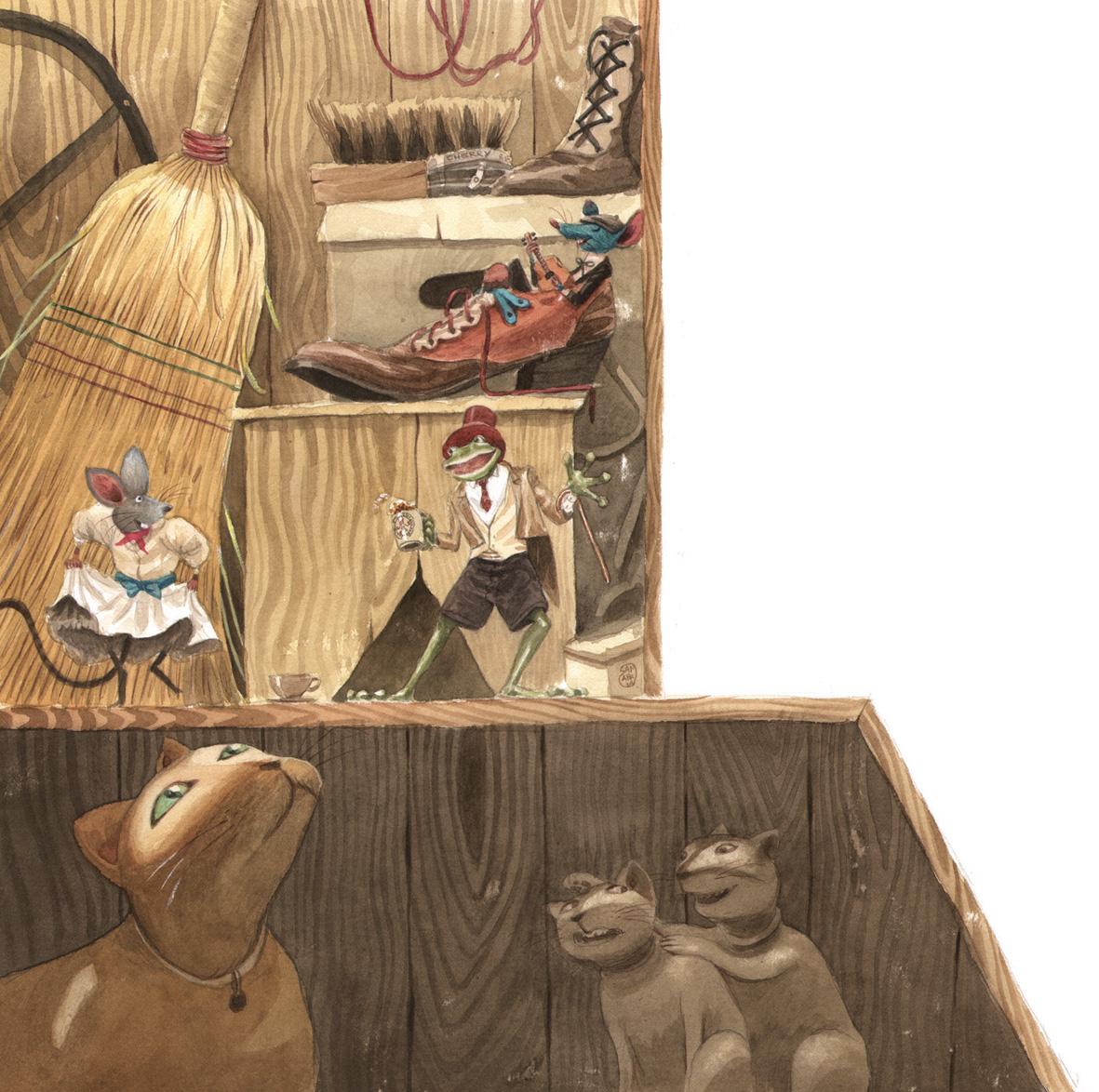 """Ilustración de José Sanabria paqra """"Rinrin Renacuajo""""."""